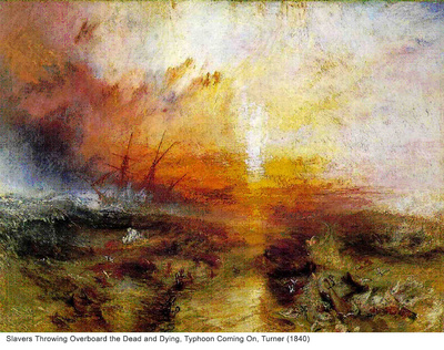 Slavers Throwing Overboard the Dead and Dying, Typhoon Coming On, Turner (1840)