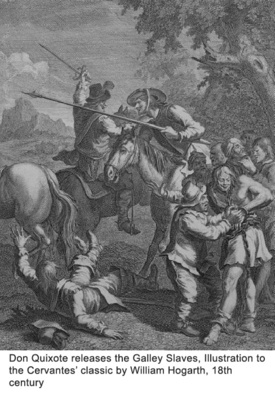 Don Quixote releases the Galley Slaves, Illustration to the Cervantes' classic by William Hogarth, 18th century