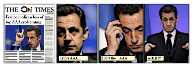 France confirms loss of top AAA credit rating